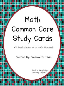 Common Core Math Study Cards for Testing Review *4th GRADE* All Standards