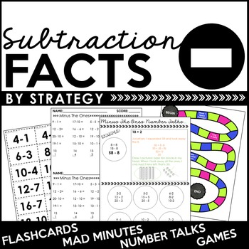 Subtraction Facts By Strategy: Flashcards, Games, Number Talks, Quizzes