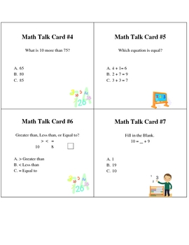 Common Core Math Talk Cards for First and Second Grade