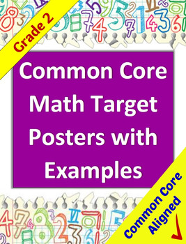 Common Core Math Target Posters with Example Illustrations for 2nd Grade