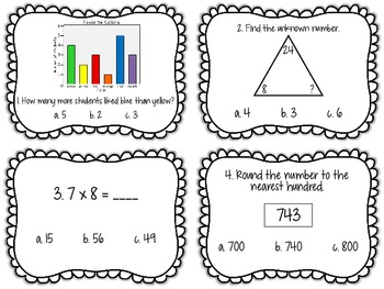 Common Core Math Task Card Review for 3rd Grade: Set 1