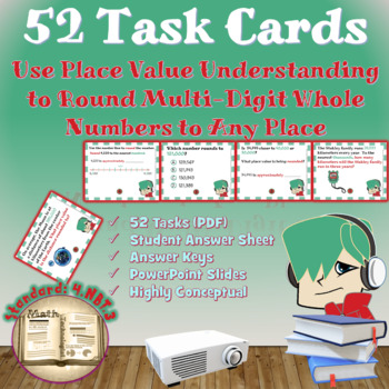 Round Multi-digit Whole Numbers (4.NBT.3):  Math Task Cards