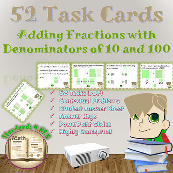 Common Core Math Task Cards-4.NBT.5.:Adding Fractions with Denominators 10 & 100