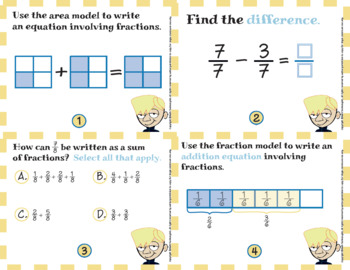 Common Core Math Task Cards - 4.NF.3.a:  Adding and Subtracting Fractions