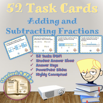 Common Core Math Task Cards - 4.NF.3.a:  Adding and Subtra