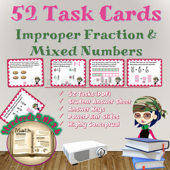 Common Core Math Task Cards - 4.NF.3.b: Improper Fractions/Mixed Numbers
