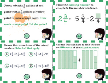 Common Core Math Task Cards - 4.NF.3.c:  Adding and Subtracting Mixed Numbers
