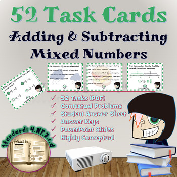 Common Core Math Task Cards - 4.NF.3.c:  Adding and Subtra