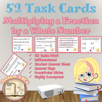 Common Core Math Task Cards - 4.NF.4.a,b: Multiplying Frac