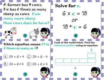 Common Core Math Task Cards - 4.OA.1 & 4.OA.2: Multiplicative Comparison