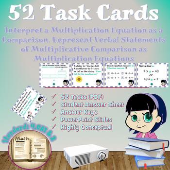 Common Core Math Task Cards - 4.OA.1 & 4.OA.2: Multiplicat