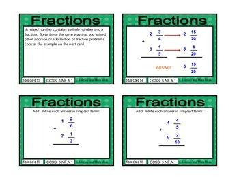 Common Core Math Task Cards: 5.NF.A.1 Fractions