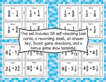 Common Core Math Task Cards (5th Grade): Adding & Subtracting Fractions 5.NF.A.1
