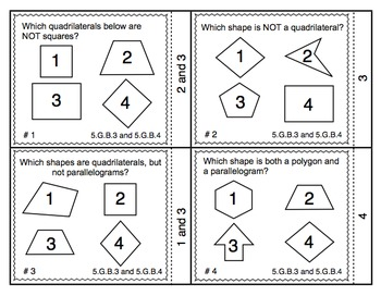 Common Core Math Task Cards (5th Grade): Attributes of Shapes 5.G.B.3 & 4