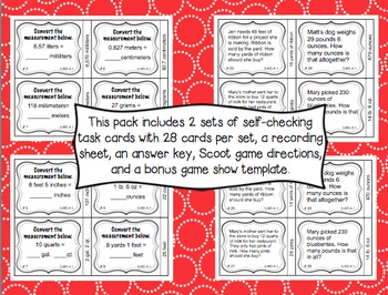 Common Core Math Task Cards (5th Grade): Converting Measurements 5.MD.A.1