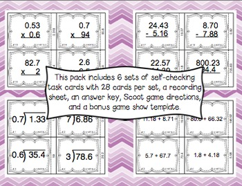 Common Core Math Task Cards (5th Grade): Decimal Computation 5.NBT.B.7