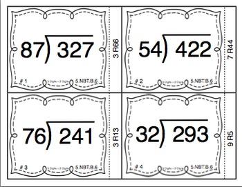 Common Core Math Task Cards (5th Grade): Division 5.NBT.B.6