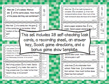Common Core Math Task Cards (5th Grade): Fraction Problem Solving 5.NF.A.2