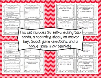 Common Core Math Task Cards (5th Grade): Interpreting Expressions CCSS 5.OA.A.2