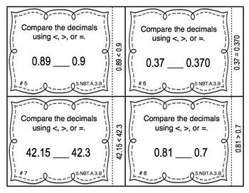Common Core Math Task Cards (5th Grade): Comparing Decimals 5.NBT.A.3.B