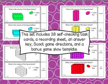Common Core Math Task Cards (5th Grade): Volume (Metric and Standard) 5.MD.C.4