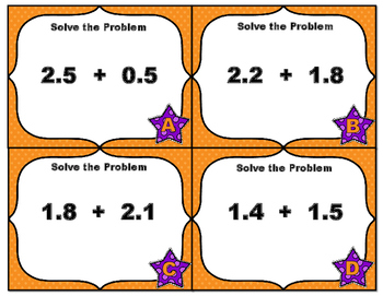 Common Core Math Task Cards-Adding Decimals to Tenths and Hundredths with Visual