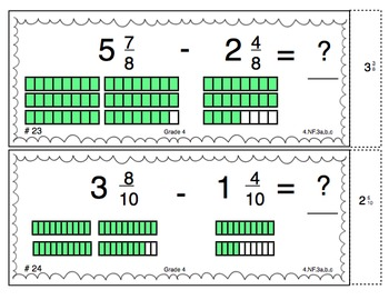 Common Core Math Task Cards - Adding and Subtracting Fractions CCSS 4.NF.3 a-c