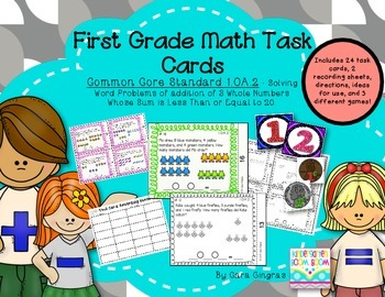 Math Task Cards - Addition Word Problems using 3 numbers {