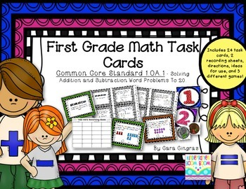 Addition and Subtraction Word Problems {1st grade} Common Core Math Task Cards