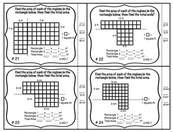 Common Core Math Task Cards Area -Relating Multiplication & Addition CCSS 3.MD.7