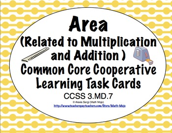 Common Core Math Task Cards Area -Relating Multiplication