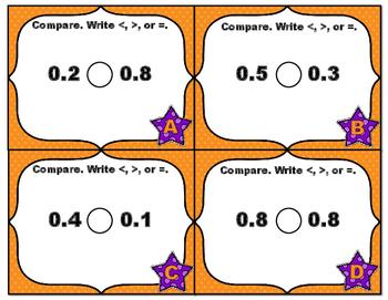Common Core Math Task Cards - Compare Decimals Part 1