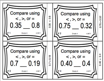 Common Core Math Task Cards - Comparing Decimals CCSS 4.NF.7