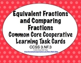 Common Core Math Task Cards Equivalents & Comparing Fractions Lines CCSS 3.NF.2