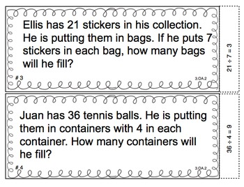 Exploring Division Math Task Cards - CCSS 3.OA.2 (Common Core Aligned)