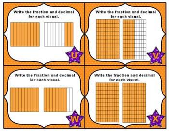 Common Core Math Task Cards - Identify Decimals Tenths and Hundredths