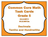 Common Core Math Task Cards - Identify Decimals Tenths and