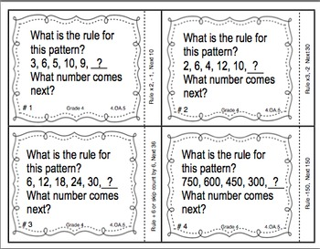 Common Core Math Task Cards - Identifying Patterns and Rules CCSS 4.OA.5