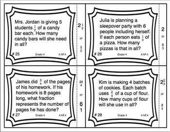 Common Core Math Task Cards Multiplying a Fraction by a Whole Number CCSS 4.NF.4