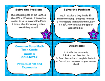 Common Core Math Task Cards - Powers of 10 and Exponents - Multiply