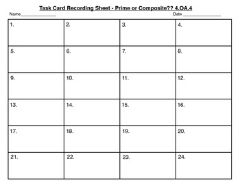 Common Core Math Task Cards - Prime and Composite Numbers CCSS 4.OA.4