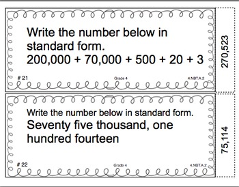 Common Core Math Task Cards Read, Write, and Compare Numbers CCSS 4.NBT.A.2