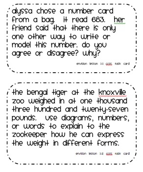 Common Core Math Task Cards Topic 1 Numeration