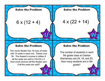 Common Core Math Task Cards -  Using the Multiplication and Addition Properties