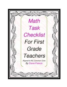 Common Core Math Task First Grade checklist
