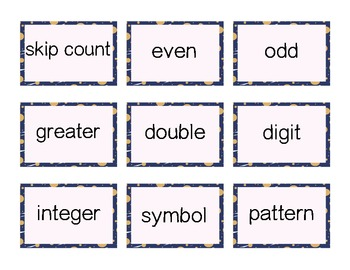 Common Core Math Terms word Cards K - 2