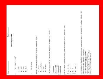 Common Core Math Test Prep 6th Grade Expression & Equations (PARCC)