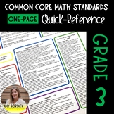 ONE-PAGE Common Core Math Standards Quick Reference: Third Grade