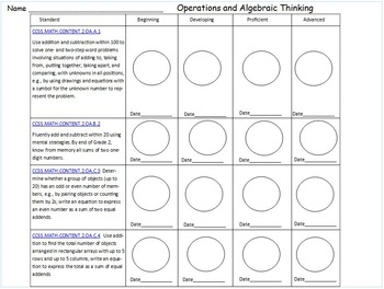 Common Core Math: Tracking Progress Booklet for Students - All Standards