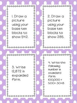 Common Core Math Unit 1 Review Task Cards